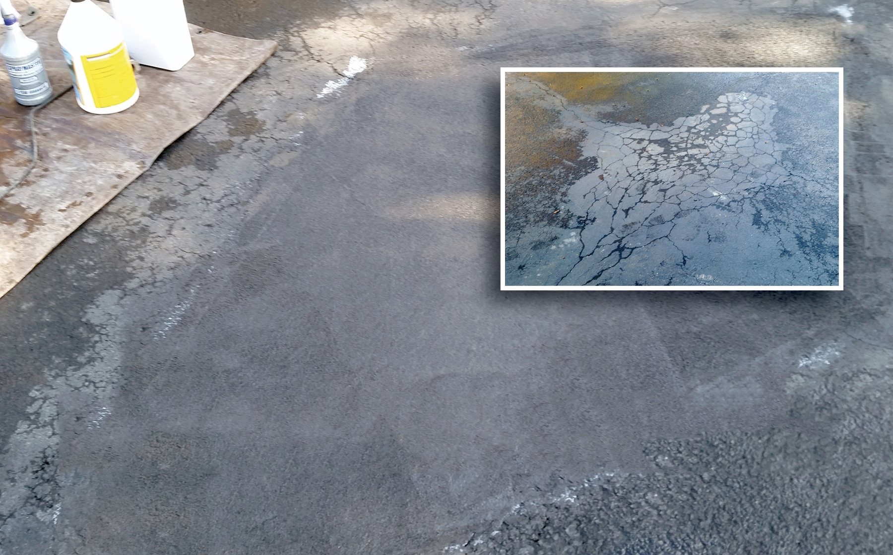 Asphalt Patch can be applied directly over 'alligator skin' asphalt without deconstruction!
